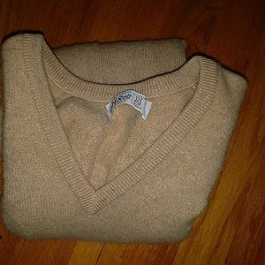 Lyle & Scott 100% Cashmere Tan V-Neck Sweater